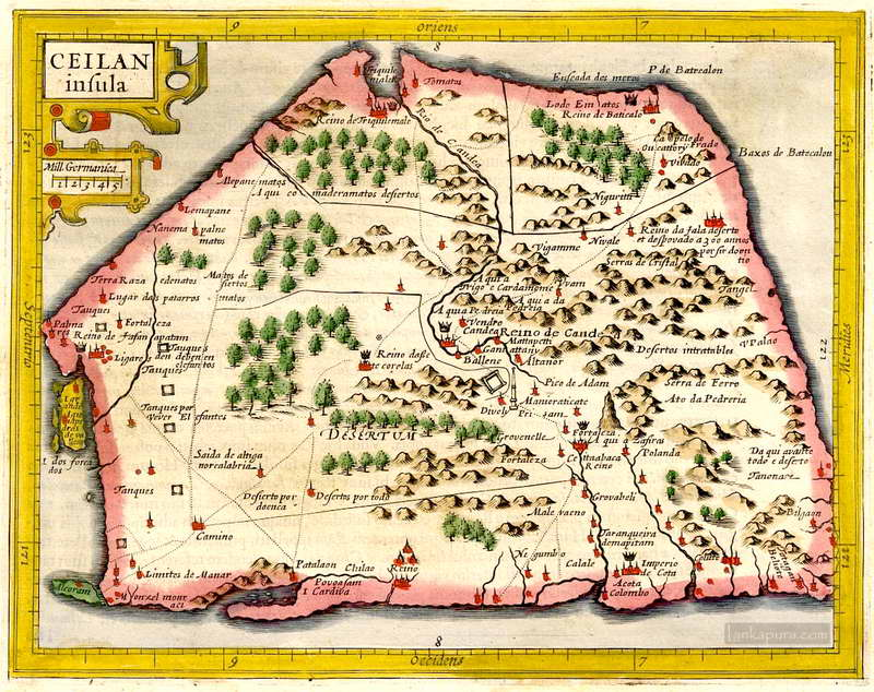 Antique map of ceilan by mercator