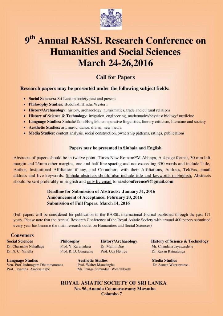 9th Annual RASSL Research Conference