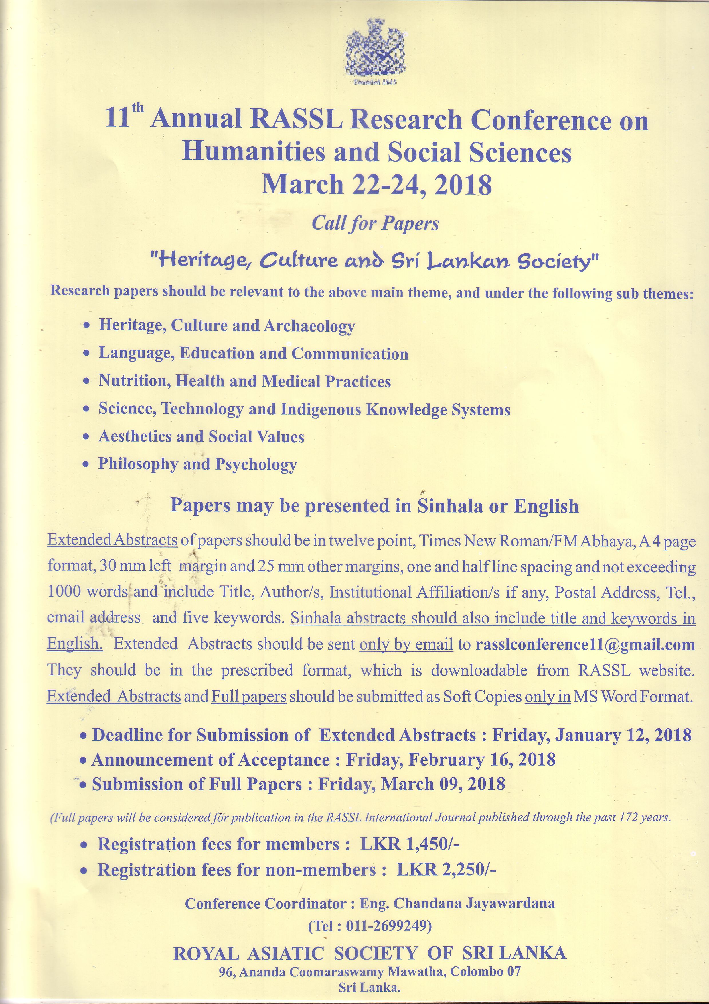 11th RASSL Annual Research Conference 2018 – Call for Papers | Royal